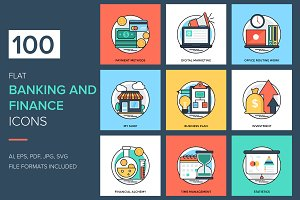 100 Flat Banking and Finance Icons