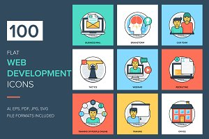 100 Flat Web Development Icons