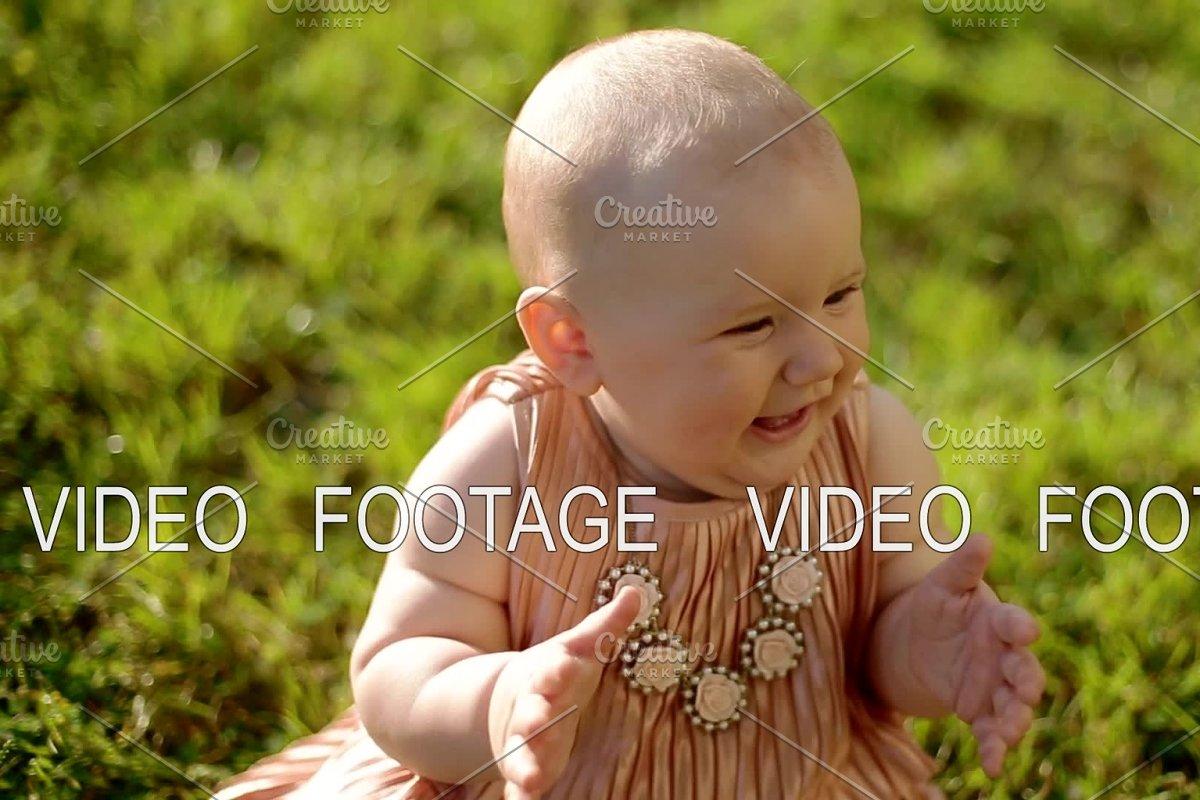 235bbffa21f3 Portrait of baby girl sitting on the ~ Graphics ~ Creative Market