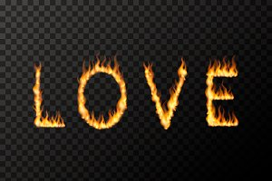 LOVE word made up from fire flames