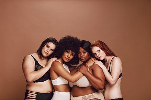 Group of different size women