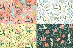 Birds Flowers Seamless Pattern