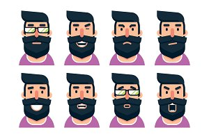 Cartoon bearded man character with