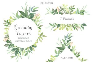 Greenery 7 Frames - Watercolour Clip