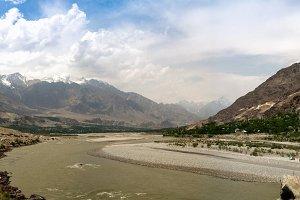 Panorama of Gilgit river, Gilgit-Bal