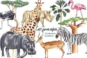 Let's go on a safari - watercolor