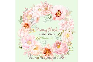 Peony Blush Floral Watercolor Wreath