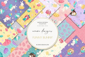 Funny Bunny Seamless Patterns