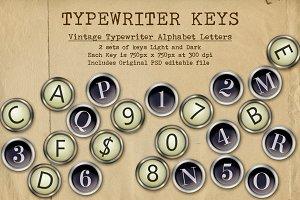 Typewriter Alphabet Vintage Keys