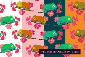 Vector pattern with chameleons