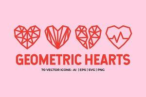 70 Geometric Hearts  Valentine's day