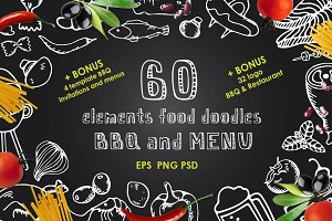 60 Elements food doodles BBQ & MENU