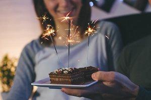 Dessert with celebration sparklers