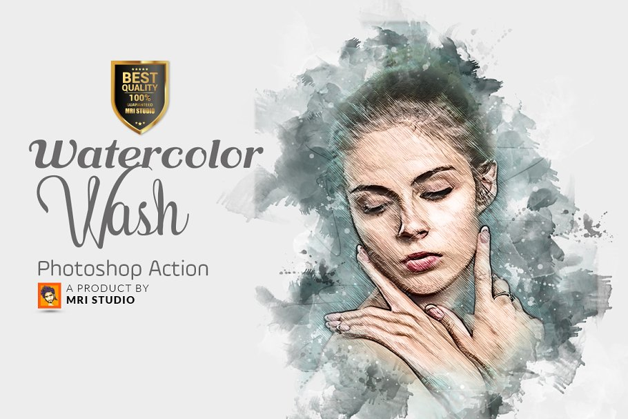 Watercolor Wash Photoshop Action 2 ~ Photoshop Add-Ons
