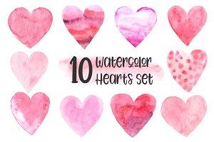 10 Watercolor Hearts Set