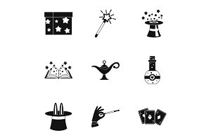 Witchery icons set, simple style