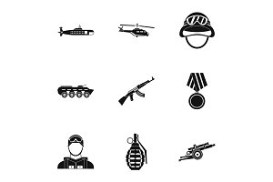 Weapons icons set, simple style