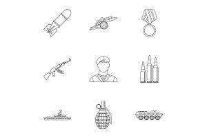 Equipment for war icons set, outline
