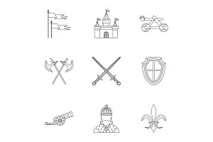 Military armor icons set, outline