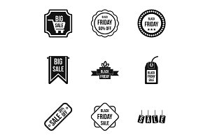 Large discounts icons set, simple