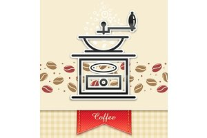 coffee grinder with coffee, food background