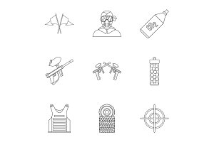 Paintball club icons set, outline