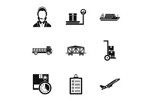 Cargo packing icons set, simple