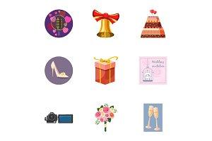 Wedding celebration icons set