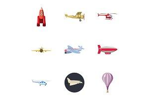 Flying device icons set, cartoon