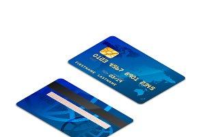 Blue isometric realistic credit card