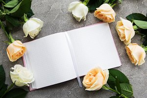 Roses and notebook