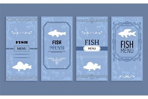 Fish Menu Isolated on Blue Vector