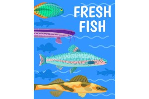 Fresh Fish in Blue Water Color