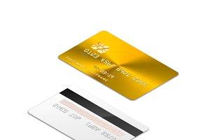Golden realistic credit card