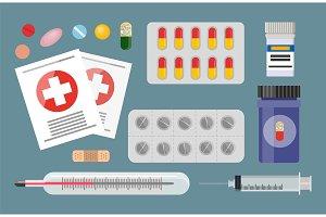 Medicaments Blisters Syringe Vector