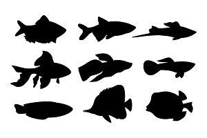 Aquarium Set Fish Silhouette Vector