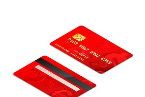 Red realistic credit cards