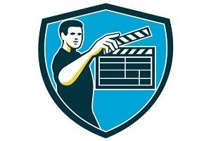 Film Crew Clapperboard Shield Retro