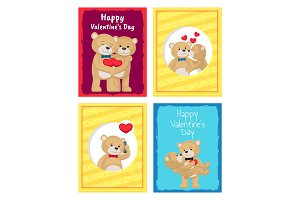 Happy Valentines Day Posters Set