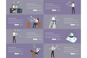 Internet Business Pages Set Vector