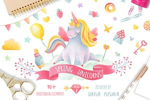 Spring Watercolor Unicors Collection