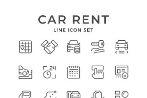 Set line icons of car rent