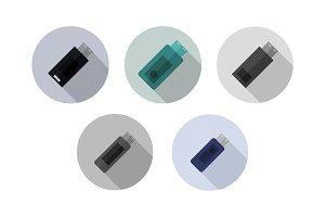 Set of usb pens in vector