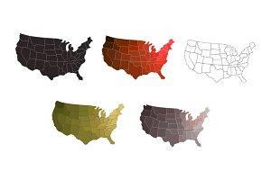 Set of united states maps