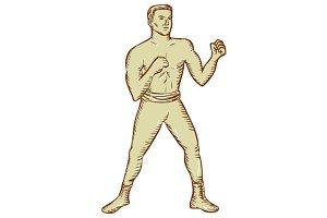 Vintage Boxer Pose Etching