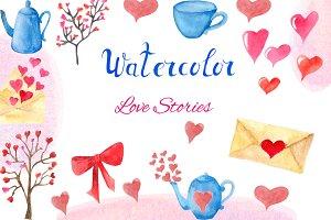 Watercolor Set Love Stories