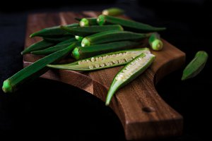 okra on wooden board