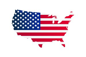United States map with flag