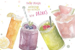 Watercolor vectorized set of drinks