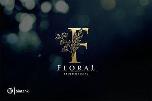 Floral - Gold F Letter Logo